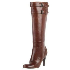 Cole haan jalisa brown knee high heeled boots.